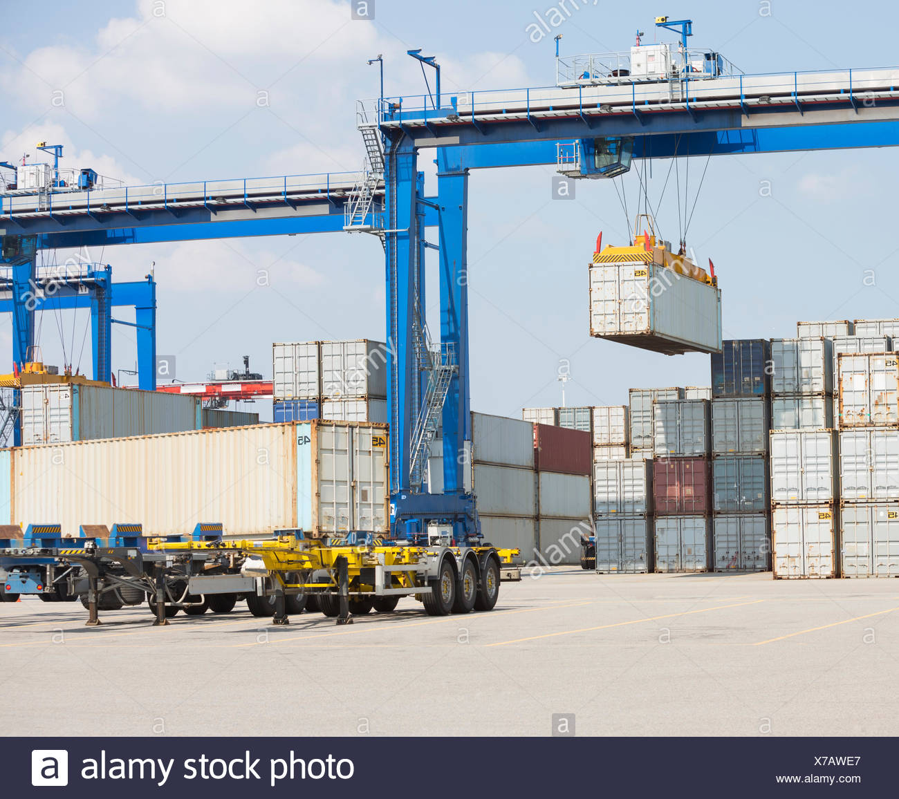Cargo containers in shipping yard Stock Photo