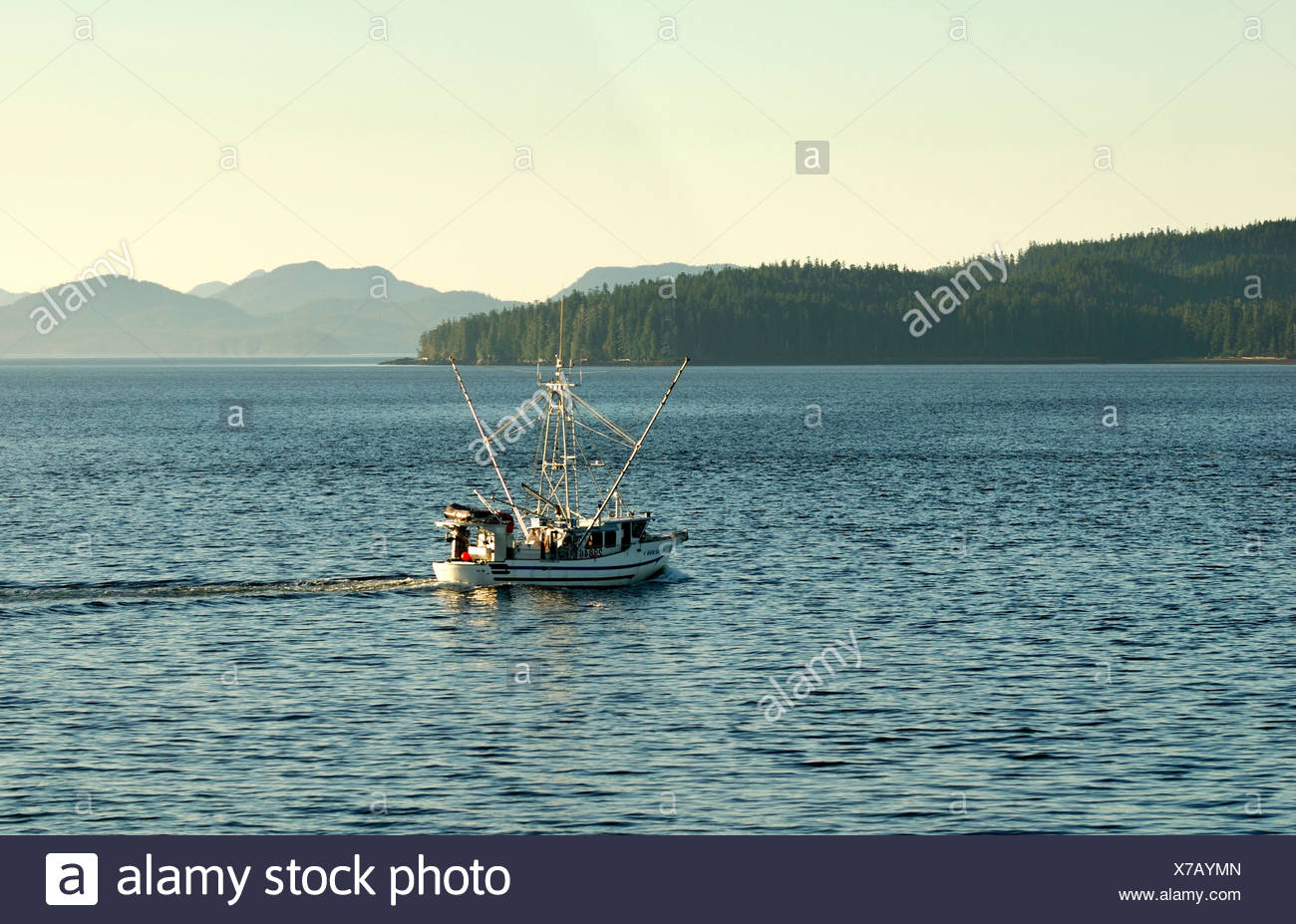 Fishing boat in the Inside Passage, British Columbia, Canada, North America - Stock Image