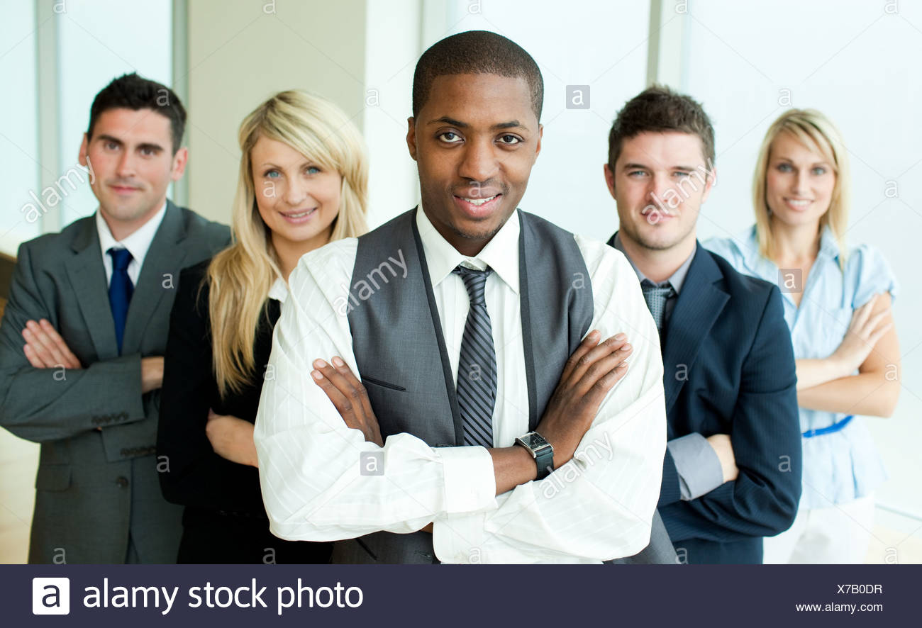 Business people headed by a man - Stock Image