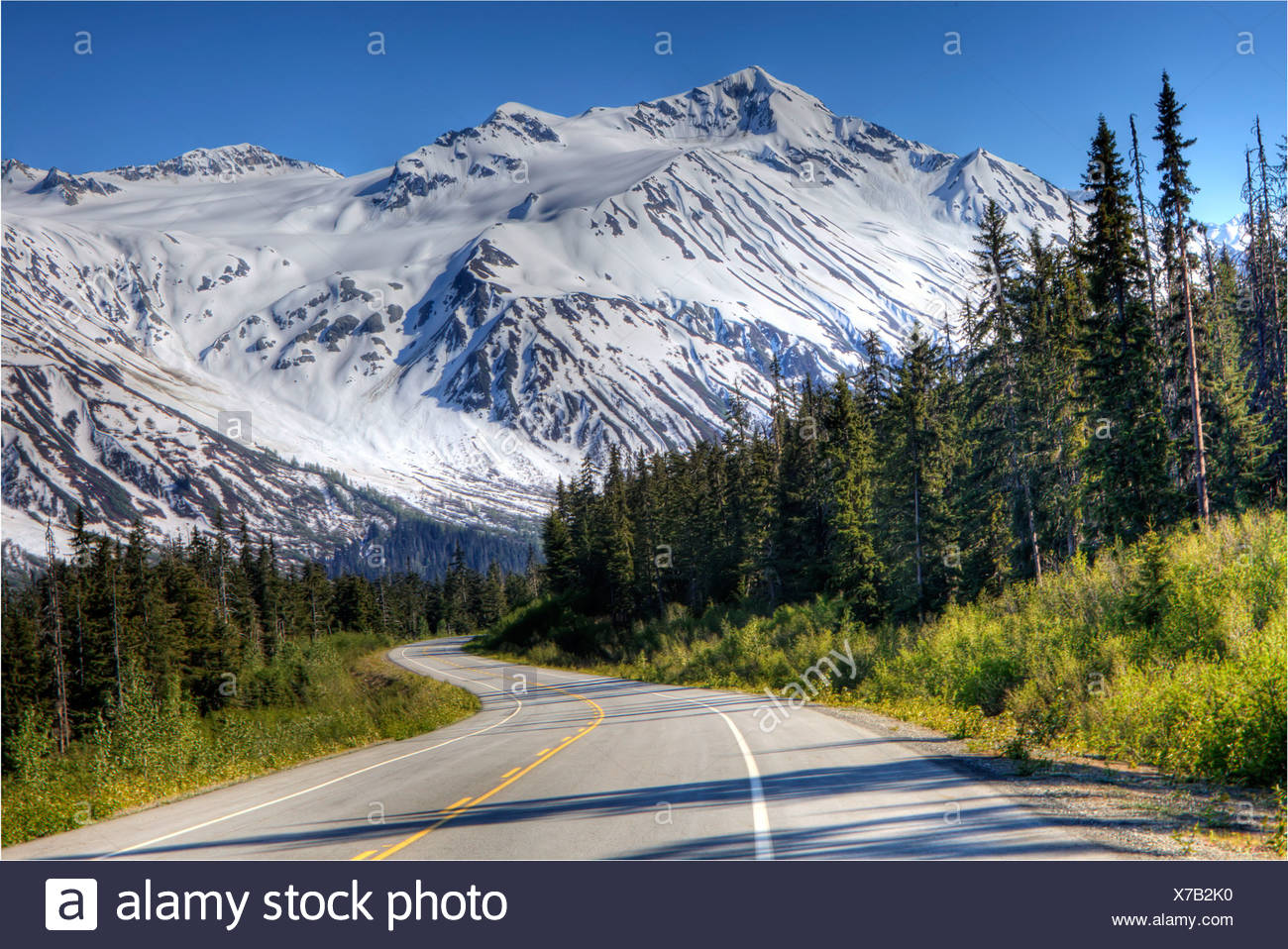 Scenic view of the Haines Highway in Southeast Alaska during Summer - Stock Image