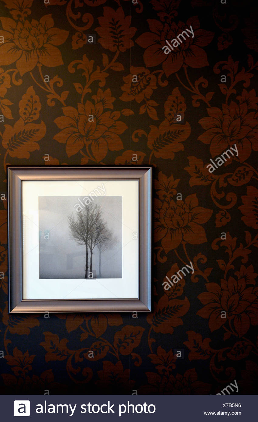 Close Up Of Framed Black And White Photograph Of A Tree On Brown