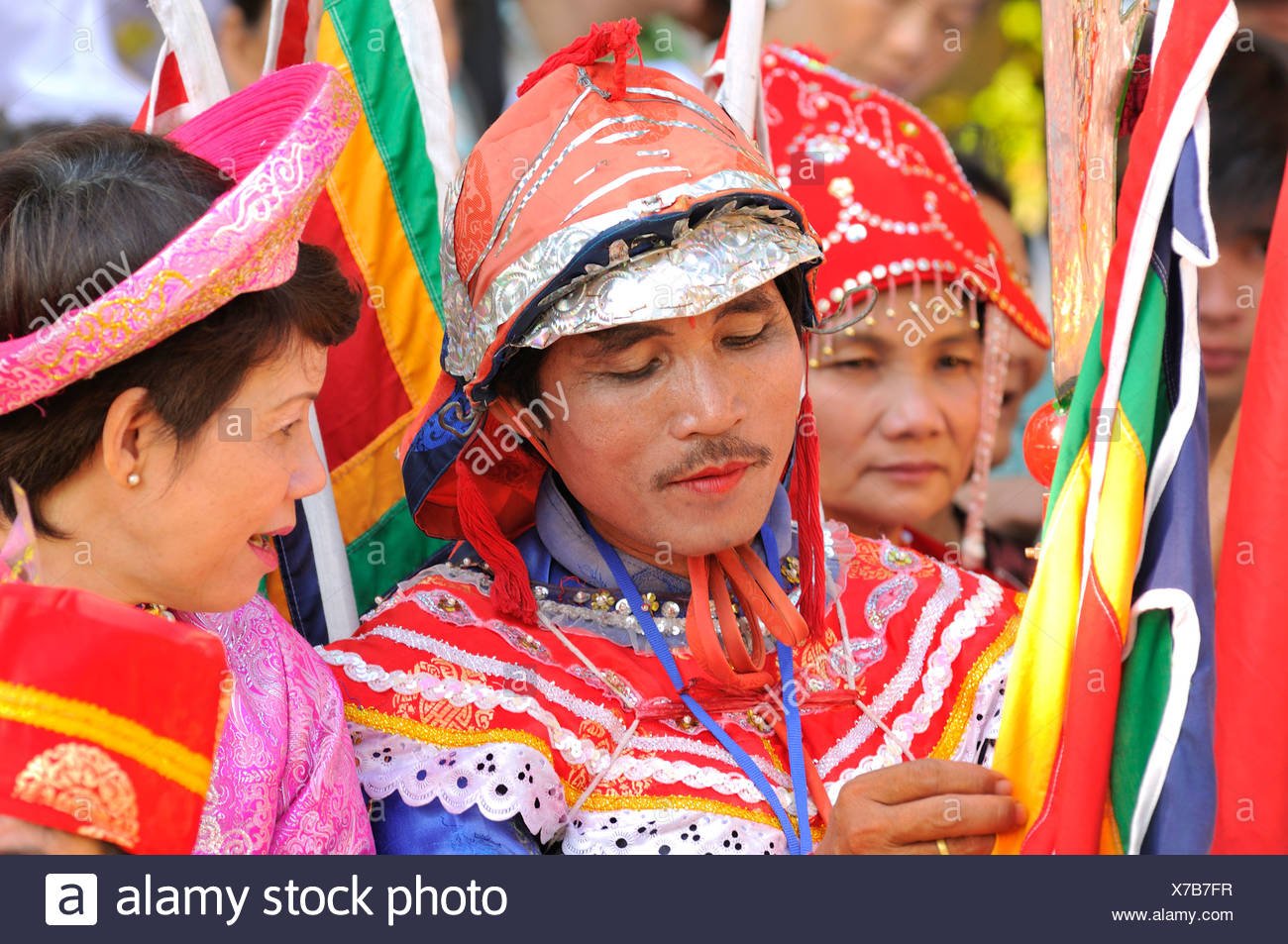 Made-up dancer at the most important festival of the Cham, Po Nagar temple, Nha Trang, Vietnam, Southeast Asia - Stock Image