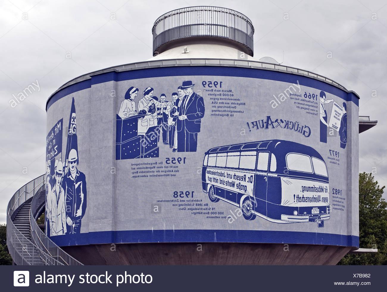 Wall mosaic Emscherkunst, Herne, Germany - Stock Image