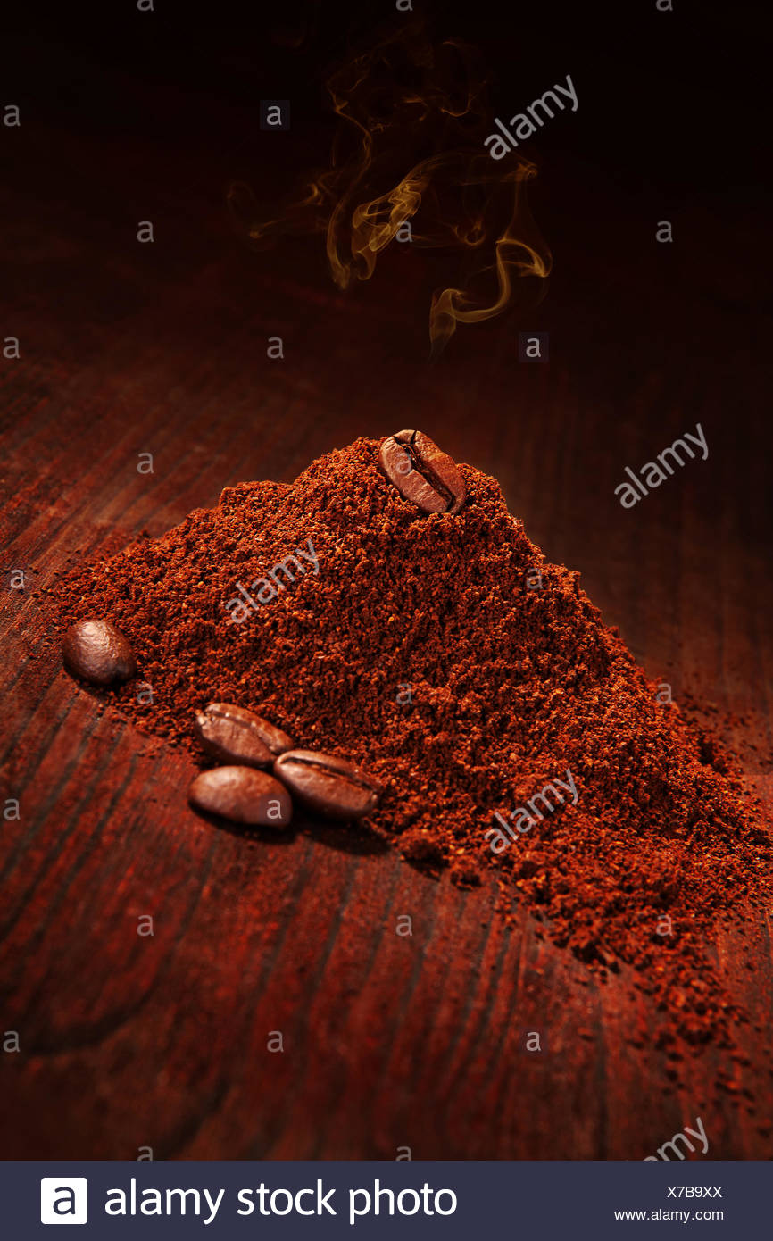 coffee coffee bean wood antique ground soil earth humus brown brownish brunette vintage aromatic beans traditional vertical - Stock Image