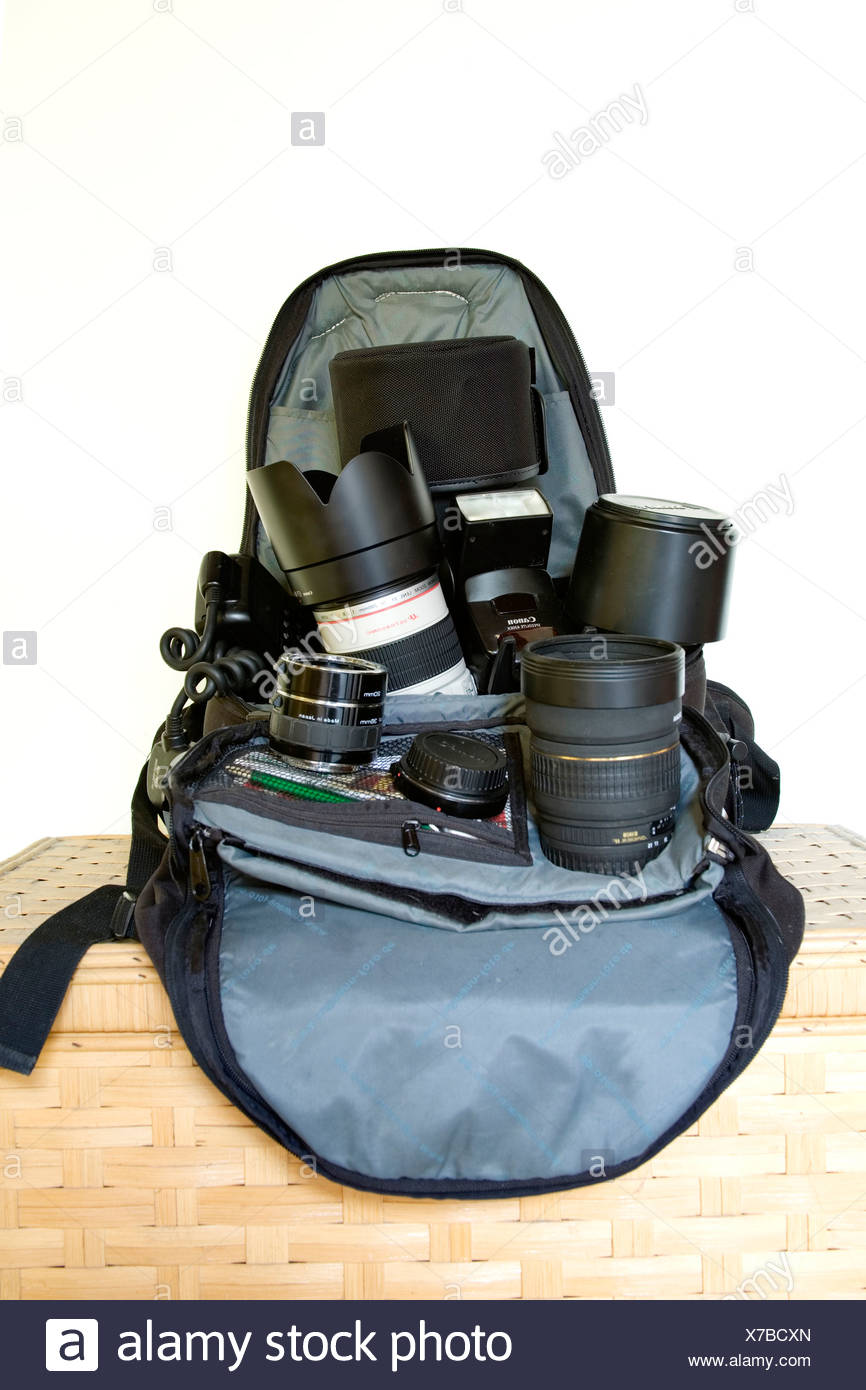 Backpack with photographic equipment - Stock Image