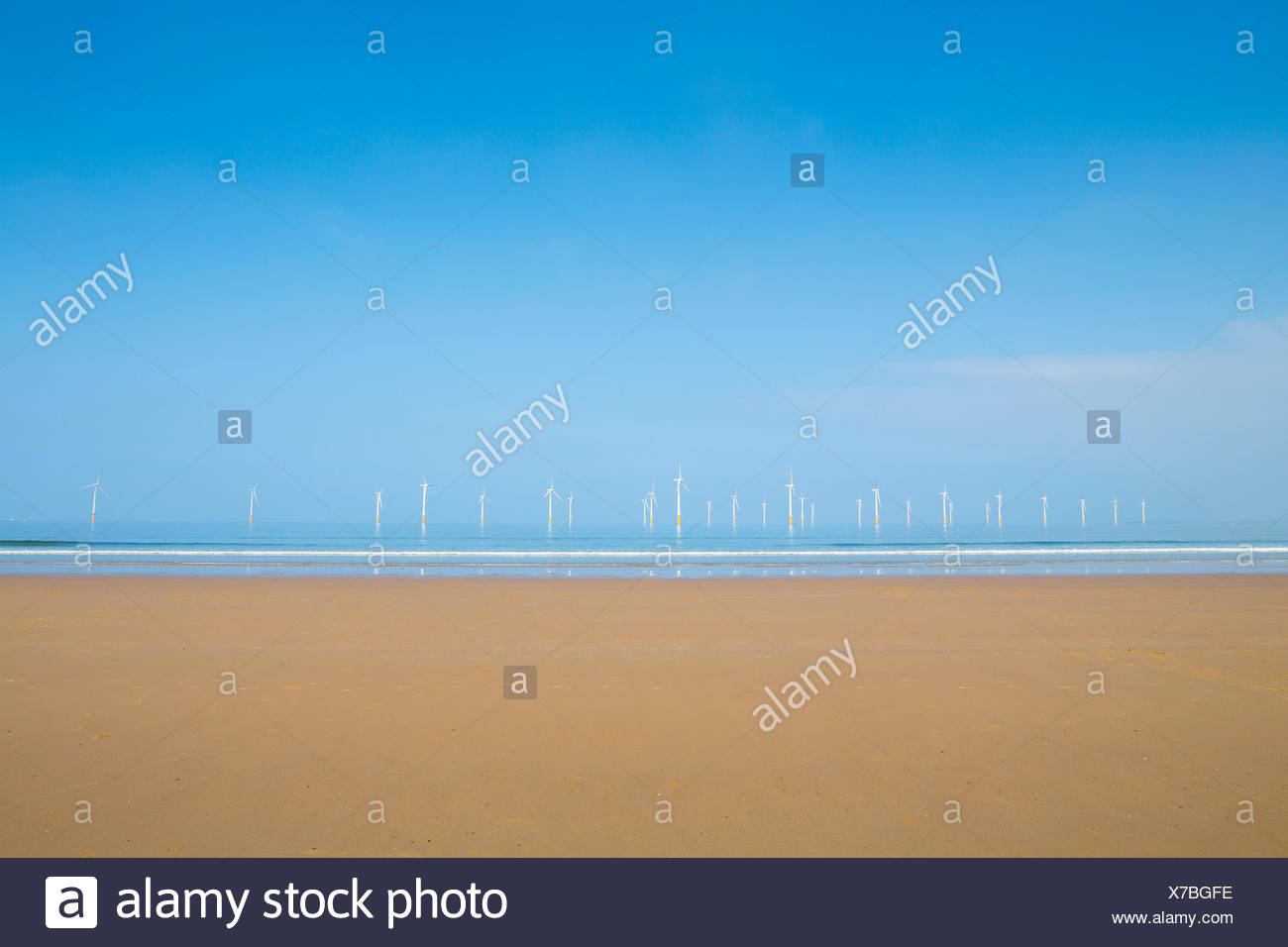 Teeside windfarm off Redcar beach, North Yorkshire - Stock Image