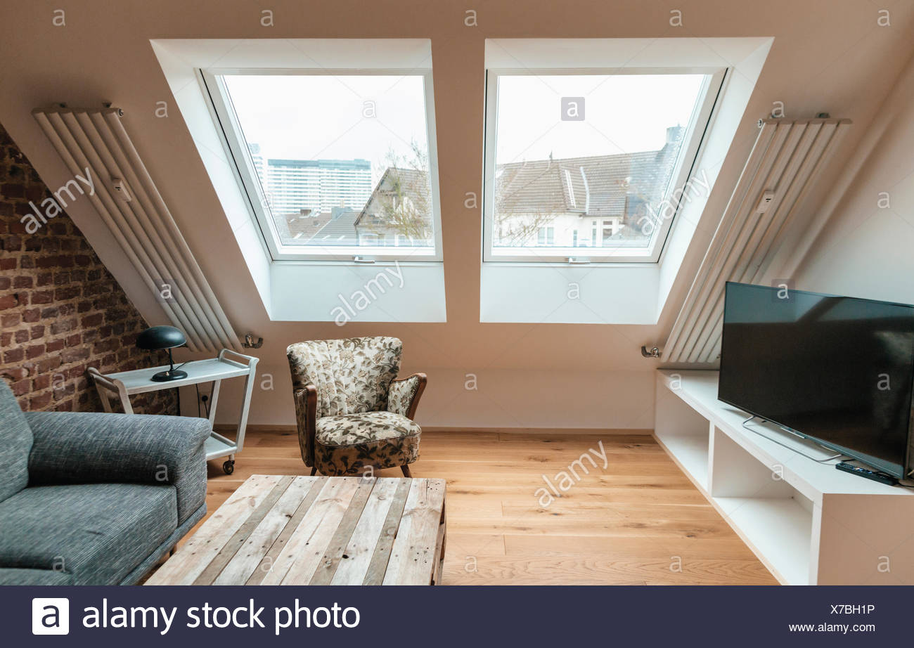 Modern Living Room Under The Roof Stock Photo Alamy