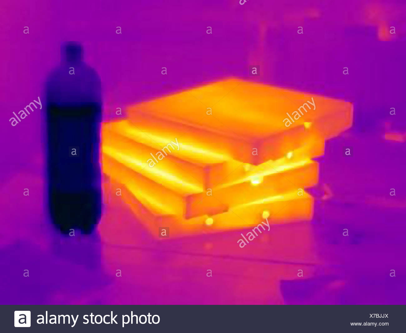 Thermal image of pizza boxes - Stock Image