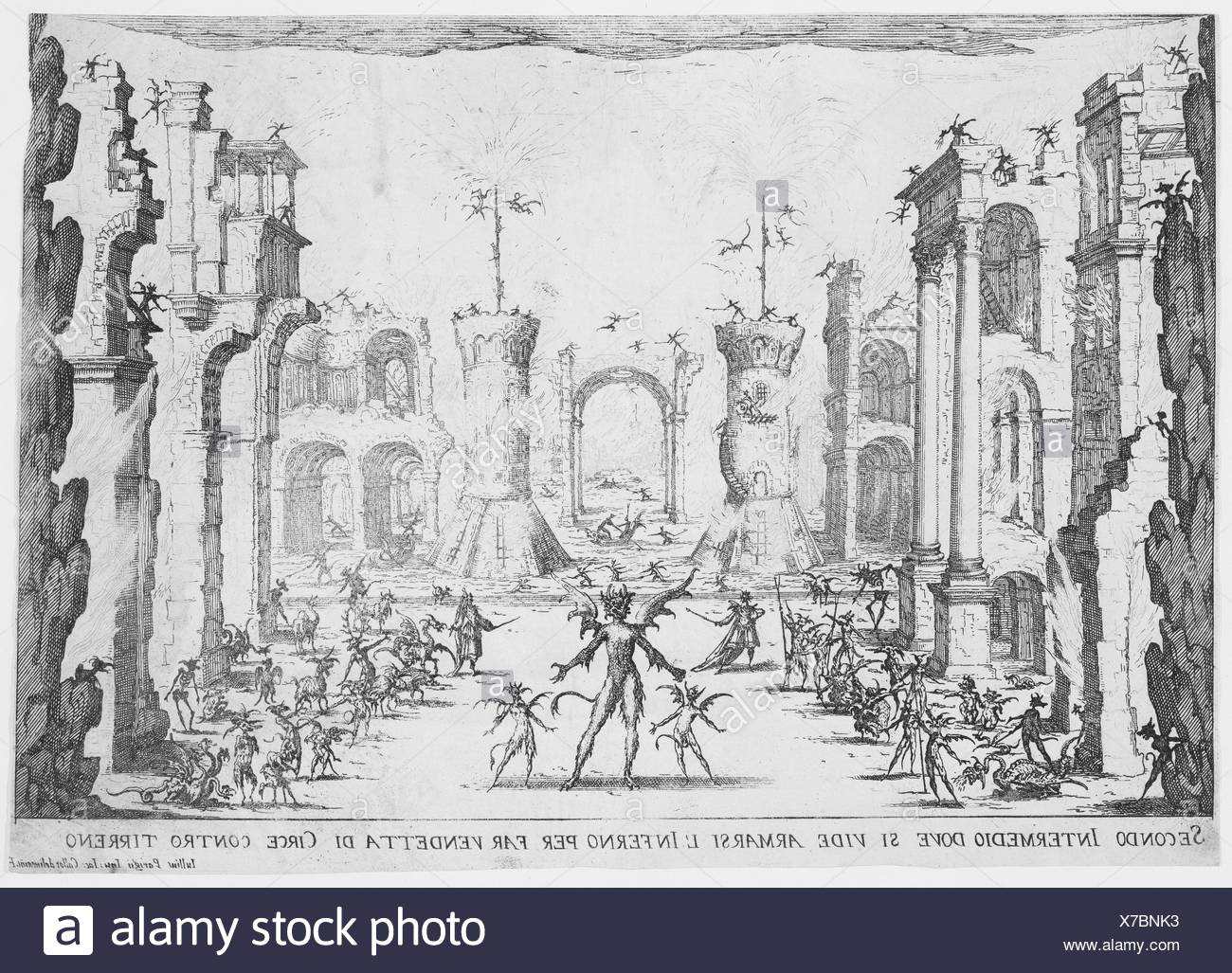 2e Intermède (2nd Interlude), from Les Intermèdes (The Interludes). Series/Portfolio: Les Intermèdes; Artist: Jacques Callot (French, Nancy 1592-1635 - Stock Image