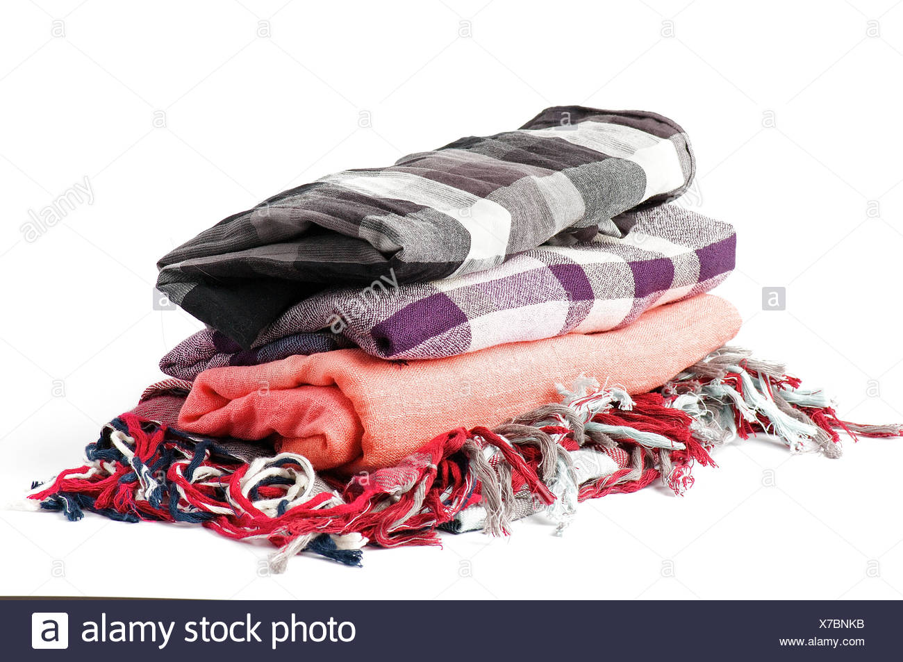 Stack of scarves - Stock Image
