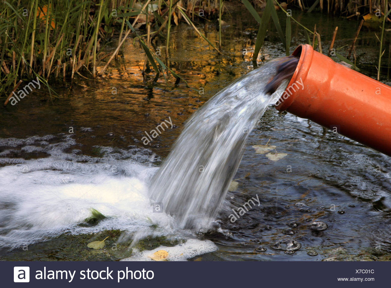 water running out of a pipe, Germany - Stock Image