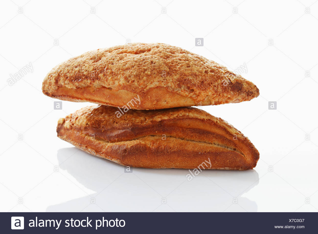 Gouda cheese bread on white background, close up - Stock Image