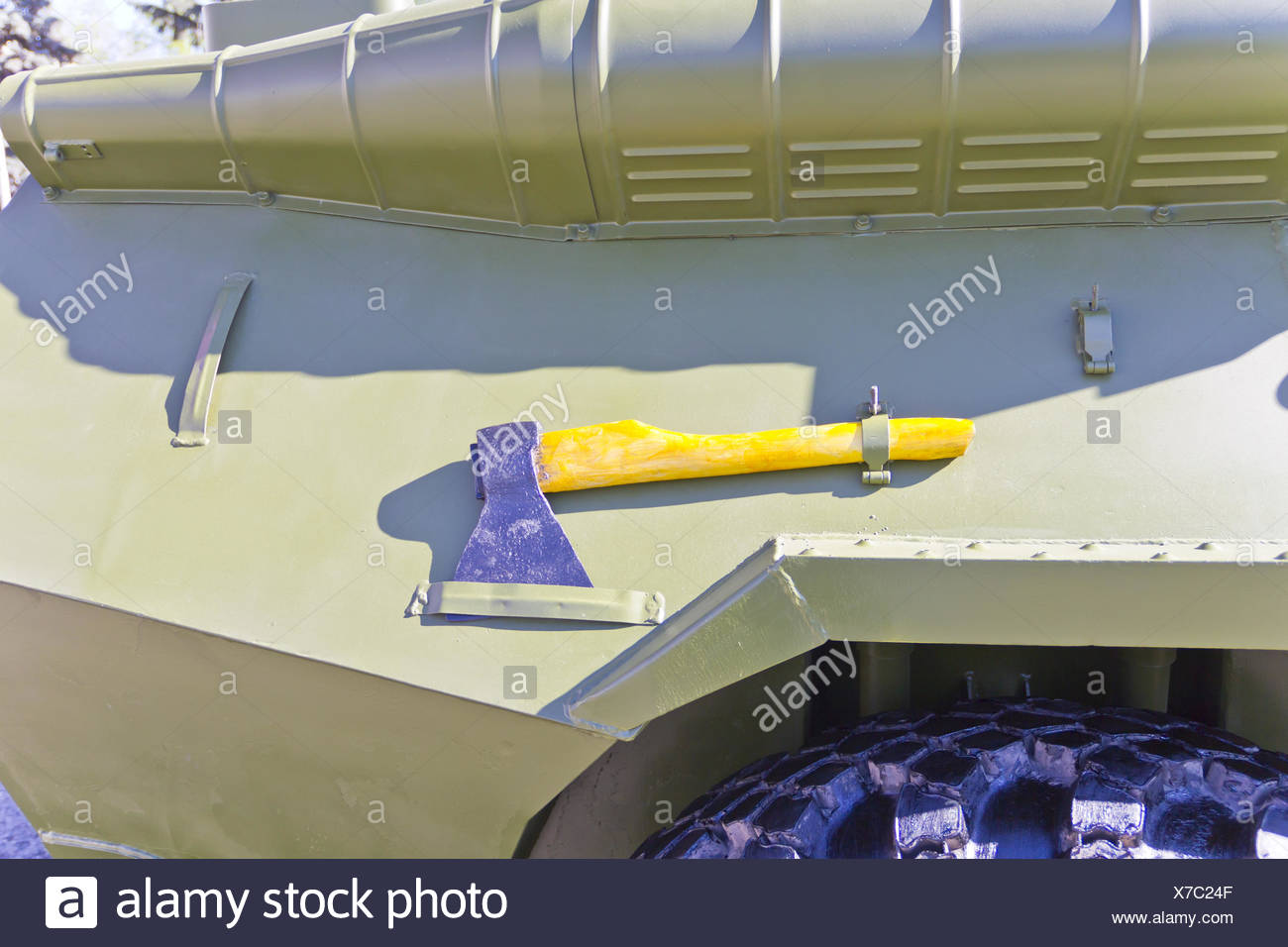 Military transport with ax - Stock Image