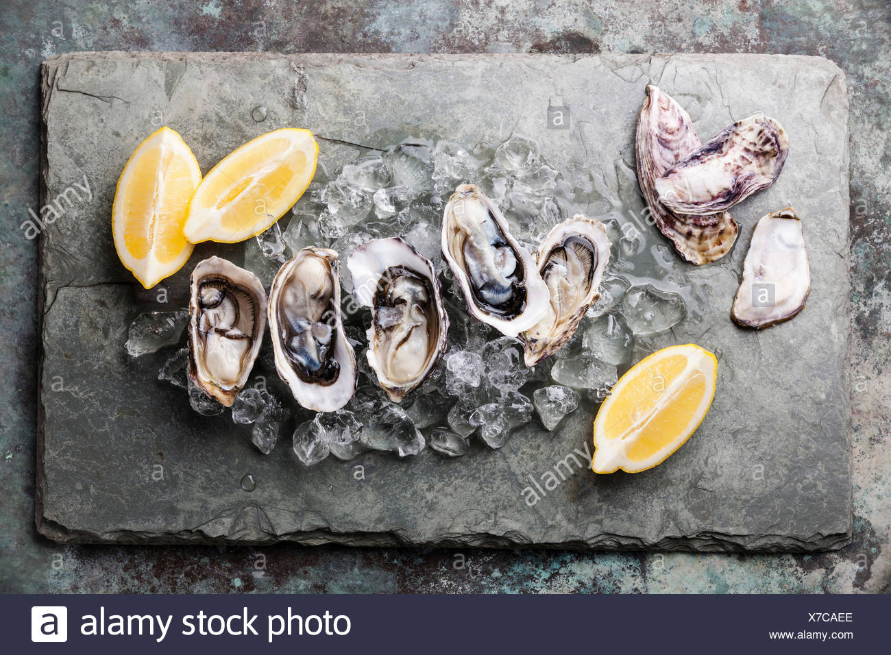 Opened Oysters on stone plate with ice and lemon - Stock Image