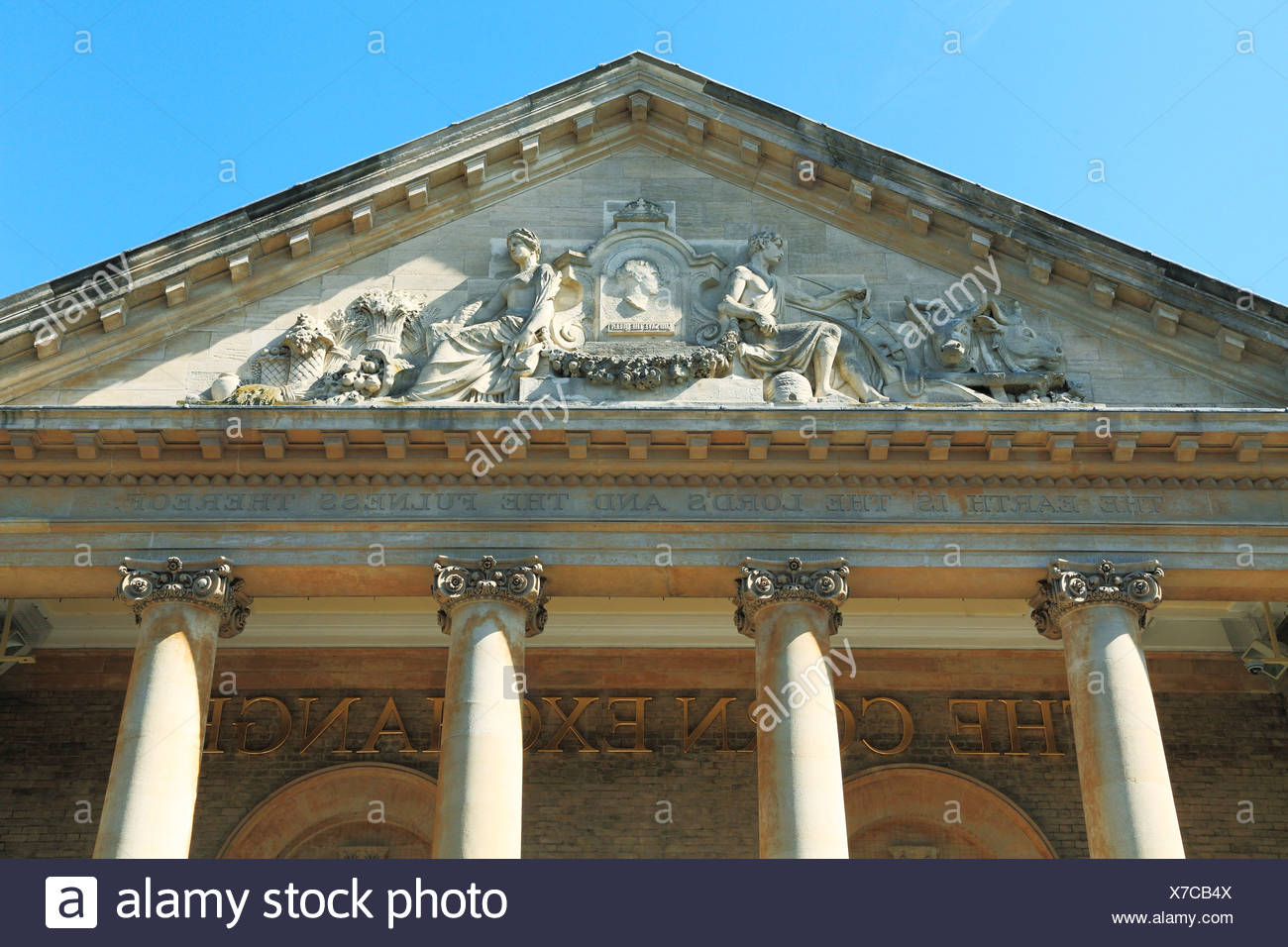Bury St. Edmunds, Corn Exchange Pediment, Victorian Classical style, Suffolk, England UK - Stock Image