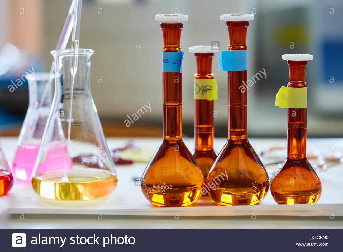 Pharmaceutical Development Laboratory. Pre-formulation, design and development of drugs and new pharmaceuticals. Certified with Good Laboratory - Stock Image