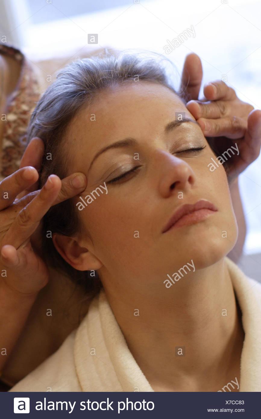 Wellness,woman,bathrobe,facial massage,portrait, Stock Photo