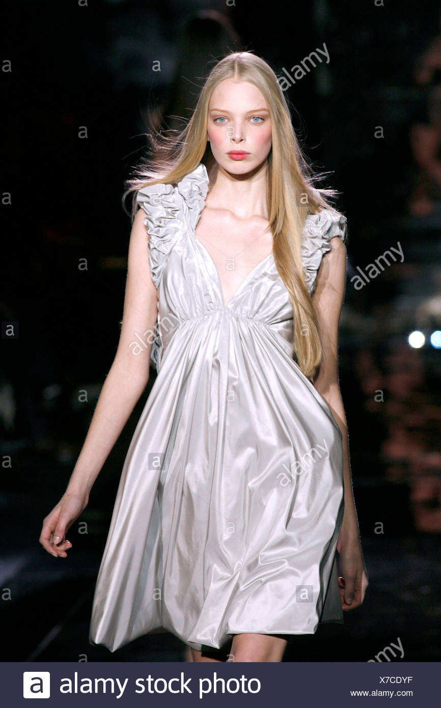 Empire Line White Dress Stock Photos Tania Blouse In Beatrice Clothing Model Tanya Dziahileva Very Long Straight Blonde Hair Wearing Satin Sleeveless Ruched And Pinned