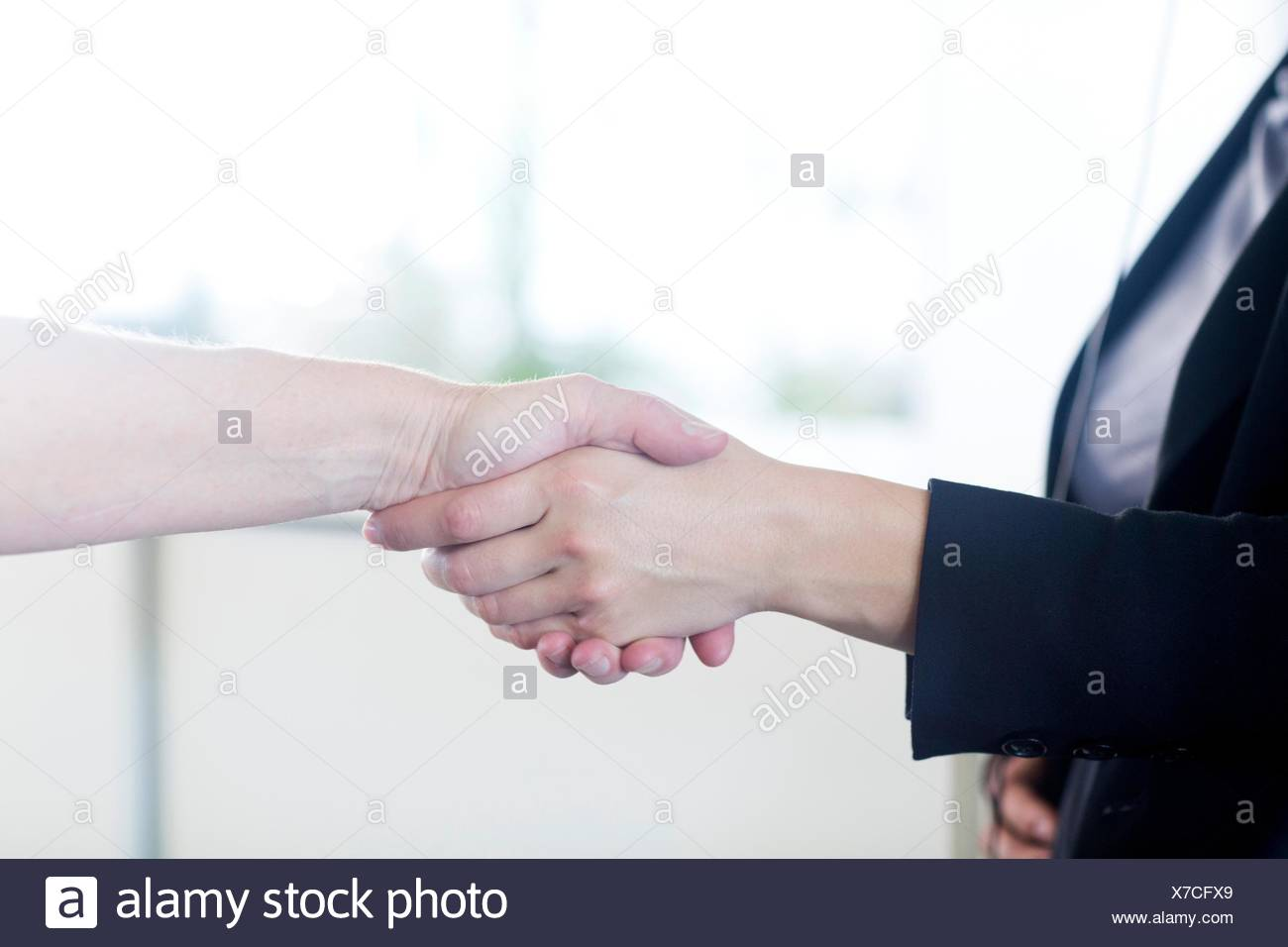 Businesspeople shaking hands in office - Stock Image
