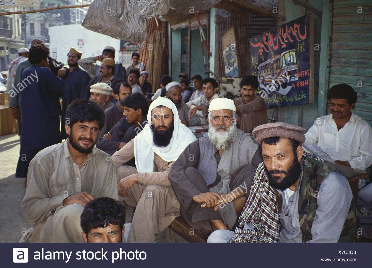 Pakistan,Belutschistan,Quetta,men,Mujaheddin,in Afghan manner,group picture,no model release,Asia,person,locals,clothes,headgear,traditionally,beards,religious fighters,Islam,islamist,Muslims,outside, - Stock Image