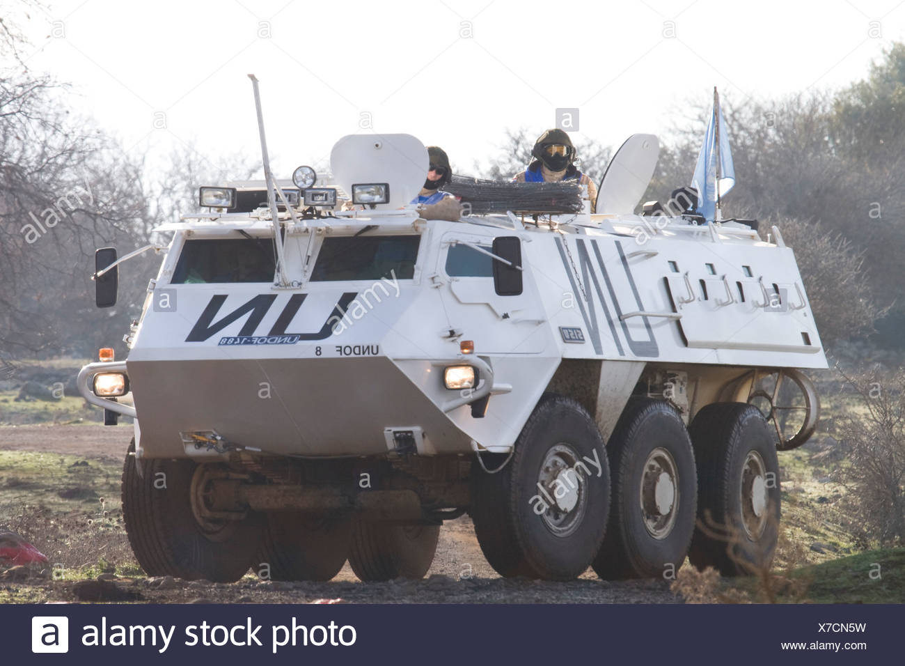 Israel Golan Heights A U N armored vehicle on the Israeli Syrian border - Stock Image