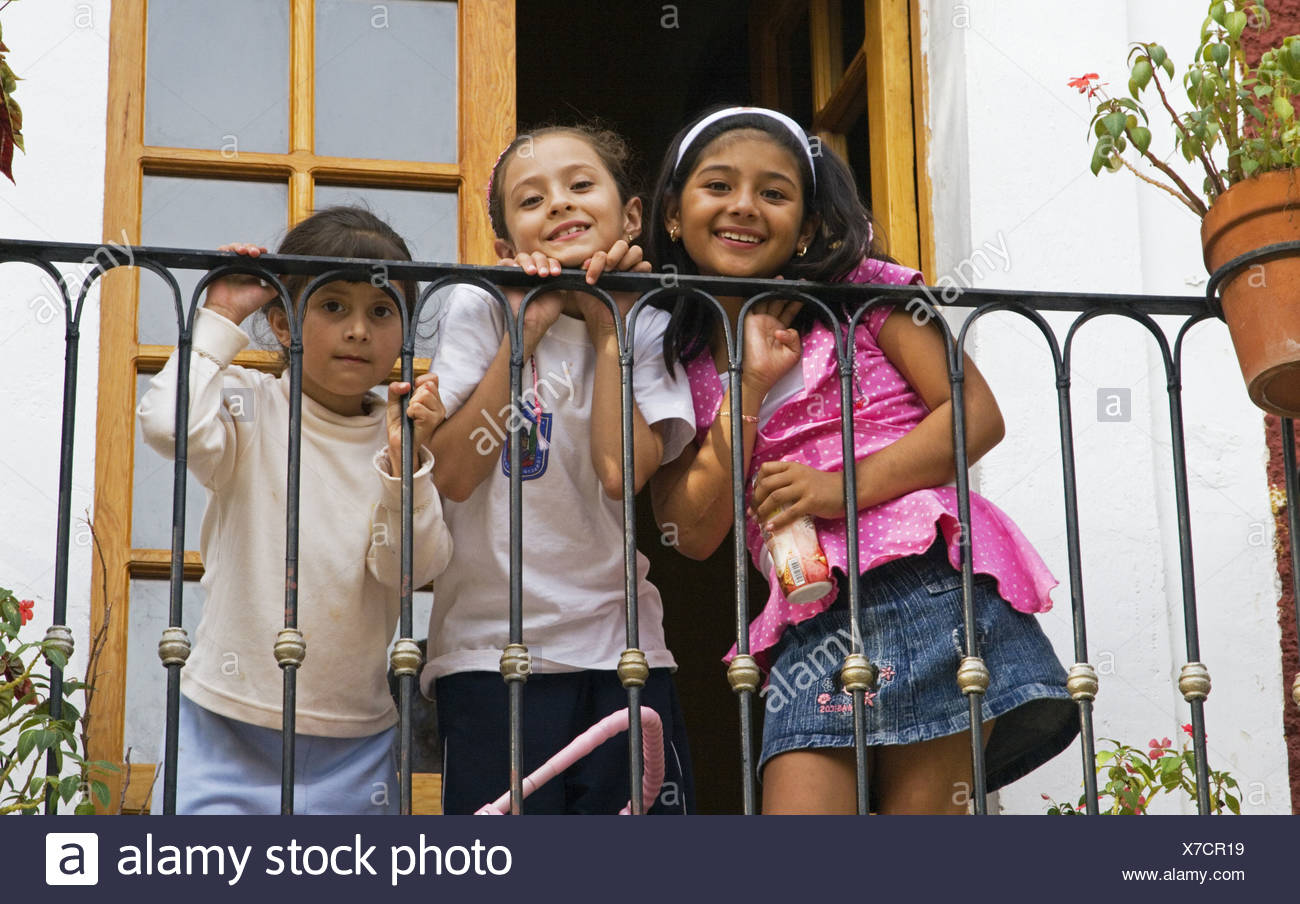 Three Cute Young Mexican Girls On A Balcony High Resolution Stock Photography And Images Alamy