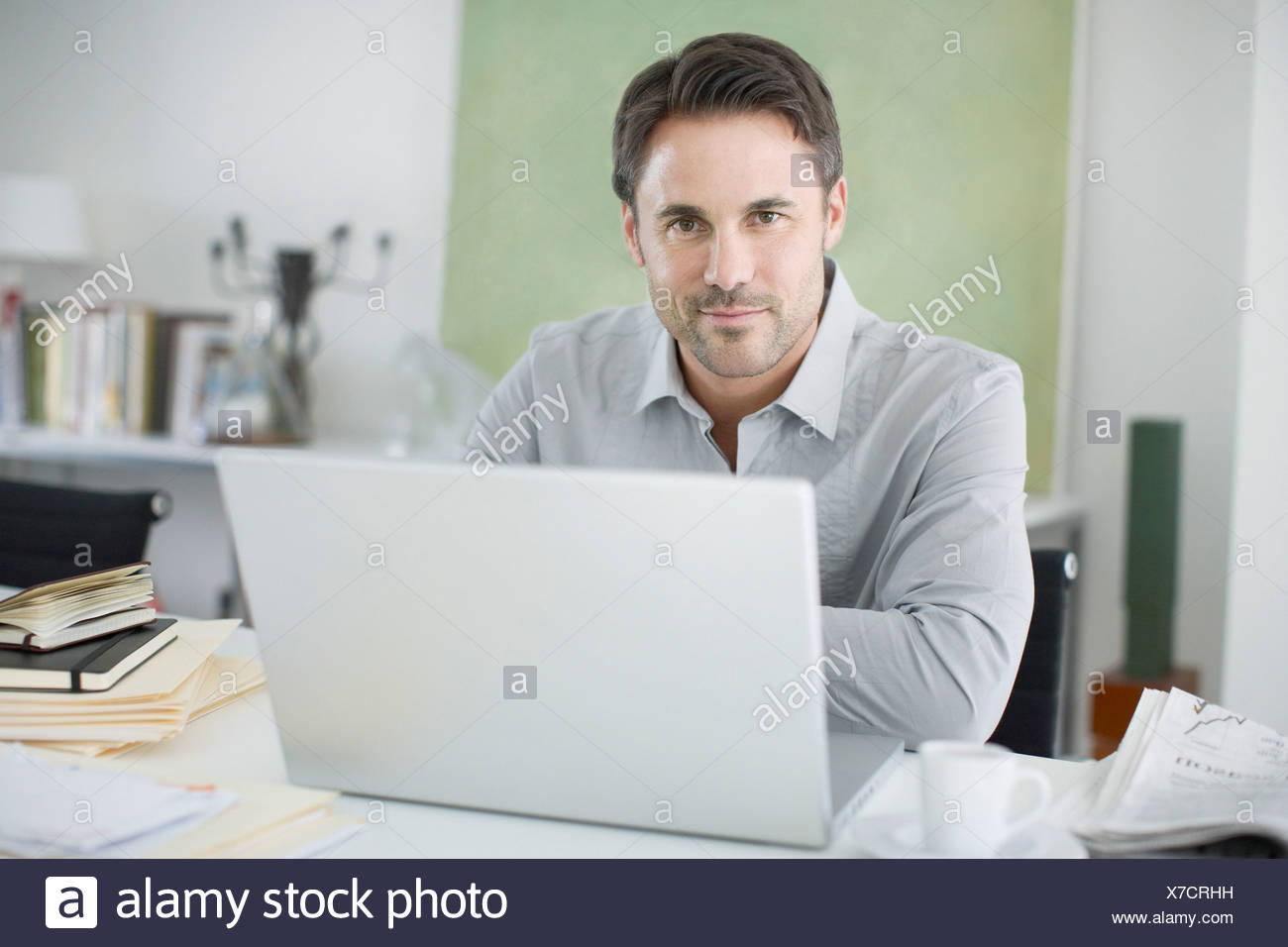 Man working from home - Stock Image