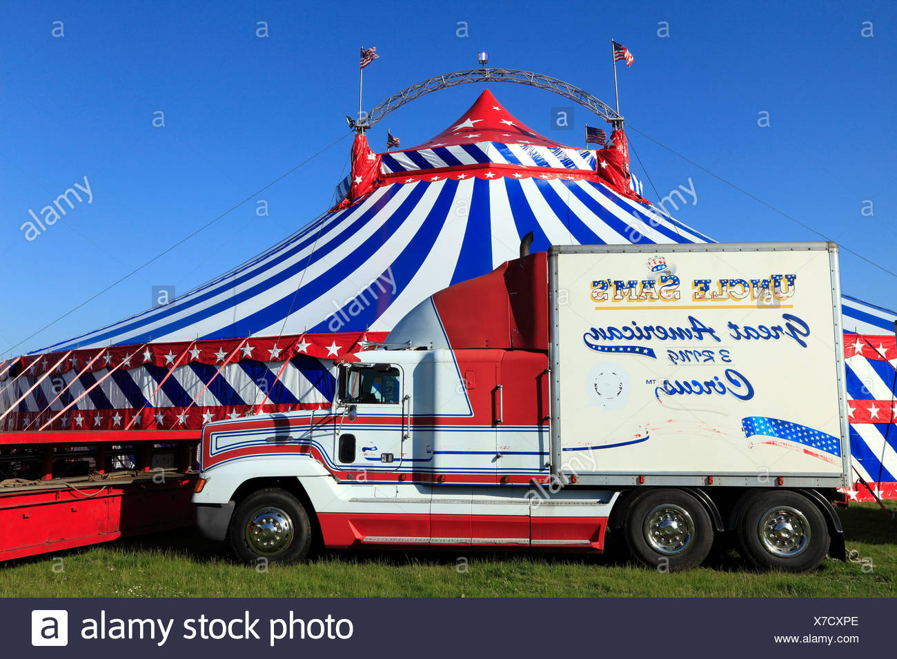 Uncle Sam's American Circus, UK travelling circus shows, Big Top tent, Norfolk, England - Stock Image