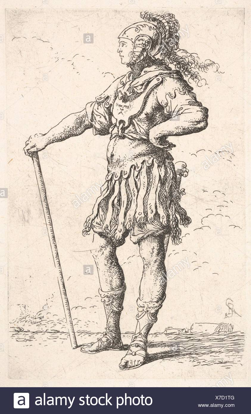 A warrior facing right wearing a plumed helmet and holding a staff, from the series ´Figurine´. Artist: Salvator Rosa (Italian, Arenella (Naples) Stock Photo