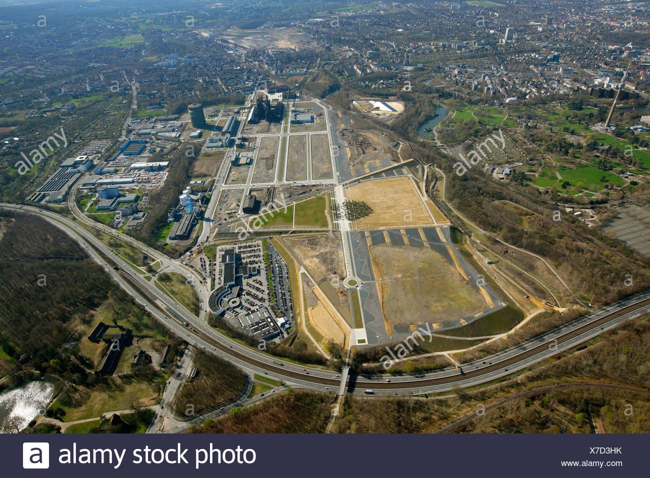 Aerial view, Phoenix-See or Phoenix Ost recreational lake construction site, Hoerde, , Ruhrgebiet region, North Rhine-Westphalia - Stock Image