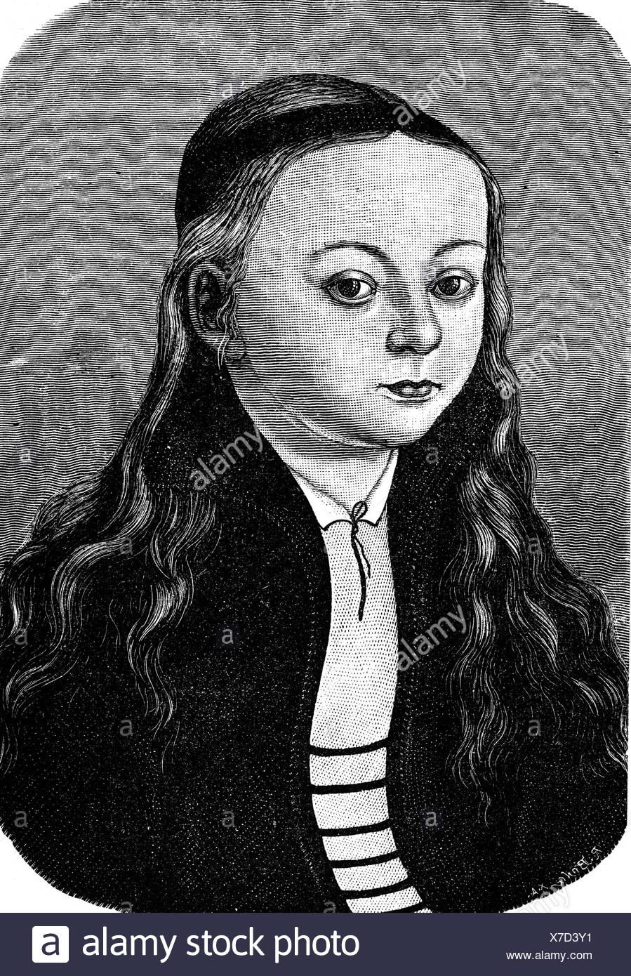 Luther, Martin, 10.11.1483 - 18.2.1546, German reformer, family, possible portrait of his daughter Magdalena (4.5.1529 - 20.9.1542) by Lukas Cranach, wood engraving, 19th century, Additional-Rights-Clearances-NA - Stock Image