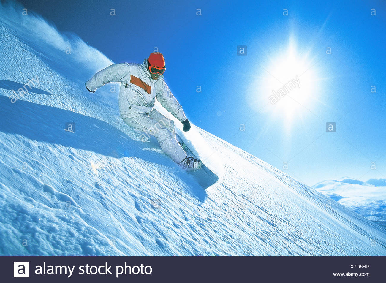 Abisko activity blue catalogue 2 clear sky color image downhill skiing horizontal Lapland leisure lifestyle loose snow movement Stock Photo