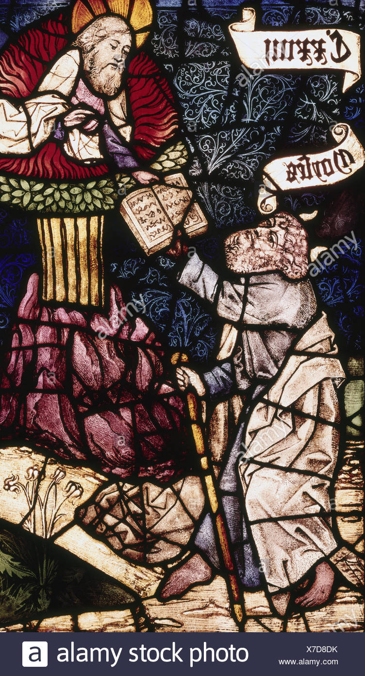 fine arts, window, Rieter Window, 'Moses receiving the Ten Commandments', St. Lawrence's Church, Nuremberg, donated 1479 by Sebald and Peter Rieter, - Stock Image