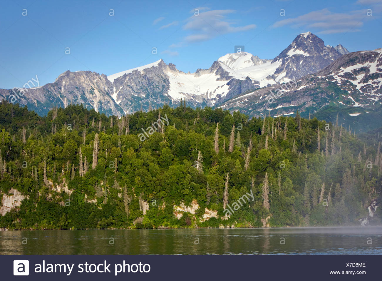 Scenic view of Big River Lakes and Chigmit  Mountains of the Alueutian Range during Summer in Southcentral Alaska - Stock Image