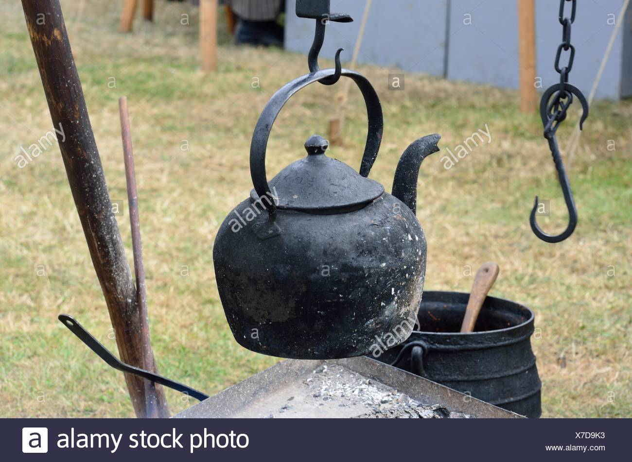 Old black kettle stock photo 279961447 alamy