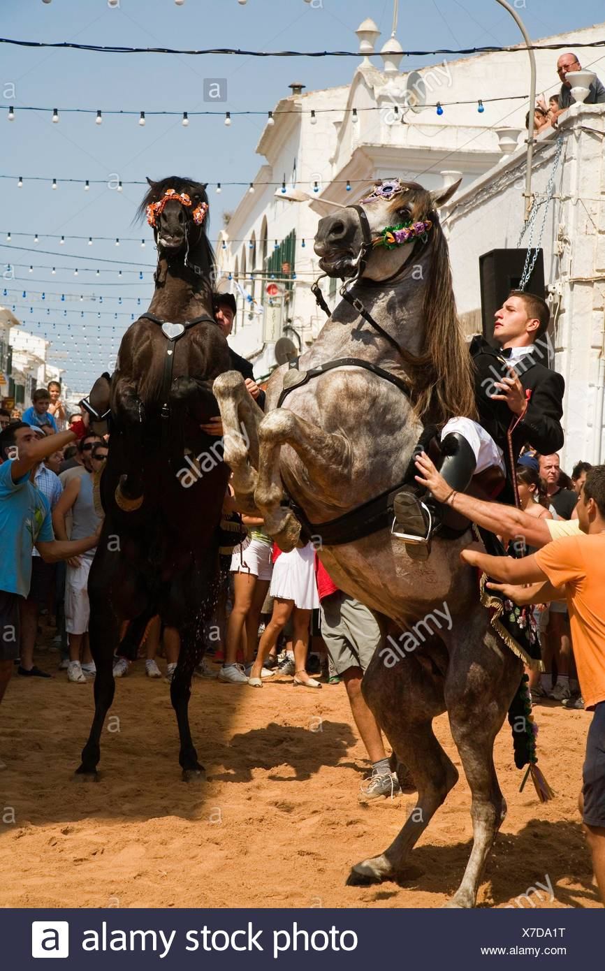 Jaleo. Traditional festivals Menorca which has its origin in the festival of Sant Joan. The protagonists are the horse and rider or caixers. Sant - Stock Image
