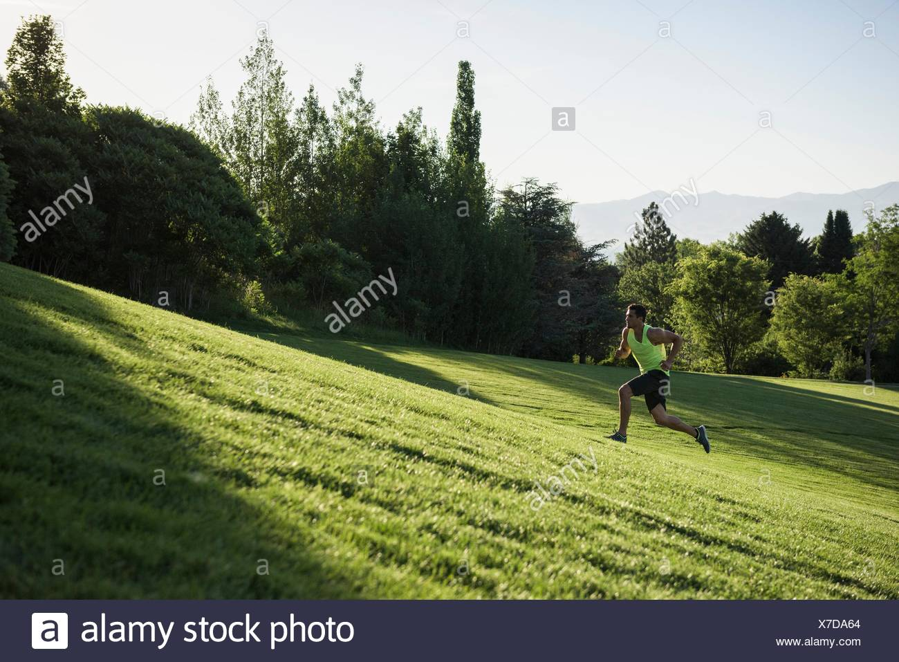 Young man doing training run on hill in park - Stock Image
