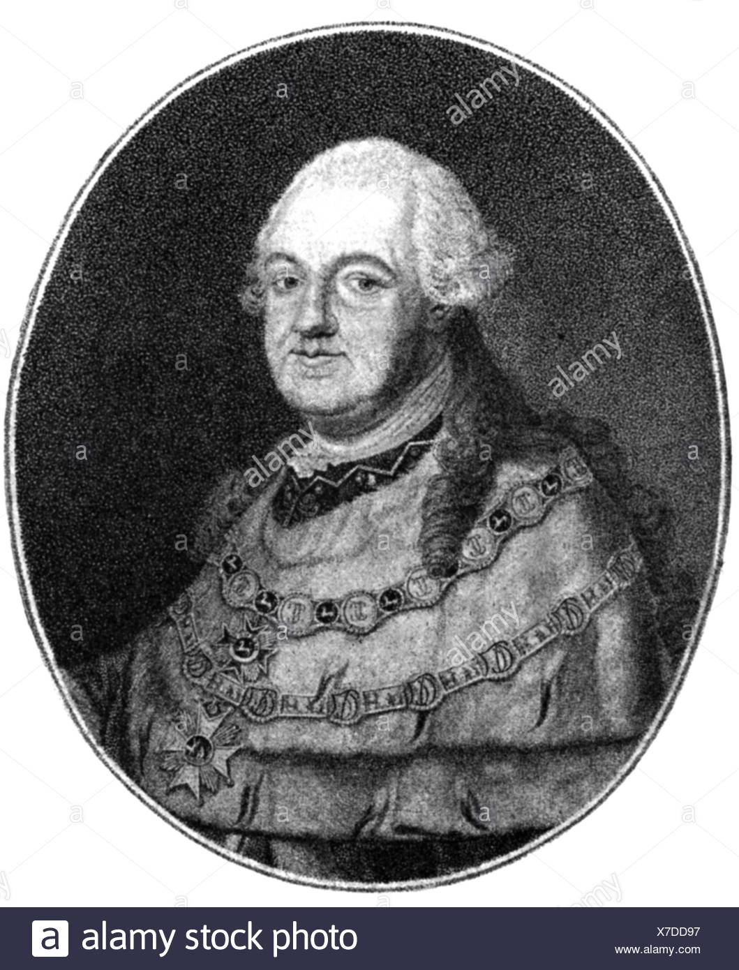 Charles Theodore, 11.12.1724 - 16.2.1799, Prince Elector of Bavaria 30.12.1777 - 16.2.1799, portrait, copper engraving by F. John, 18th century, , Artist's Copyright has not to be cleared - Stock Image