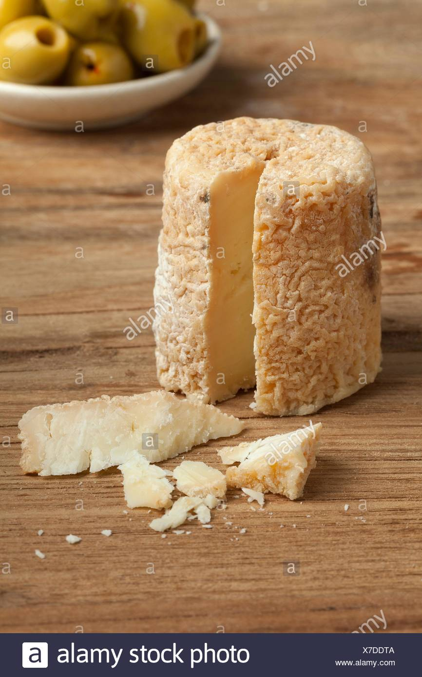 Traditional french goats cheese called chevre chabichou. - Stock Image