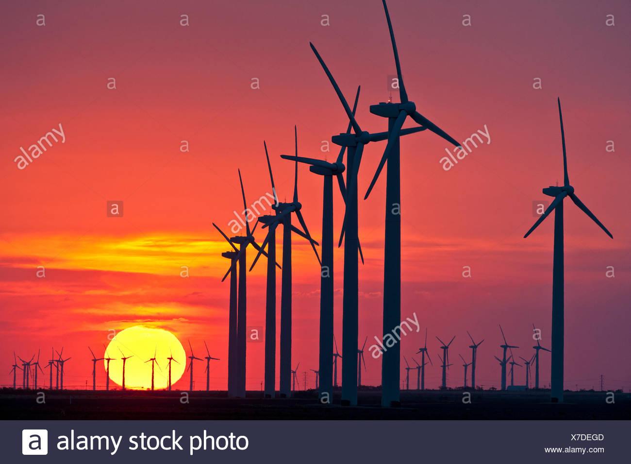 Wind Turbines at sunset. - Stock Image