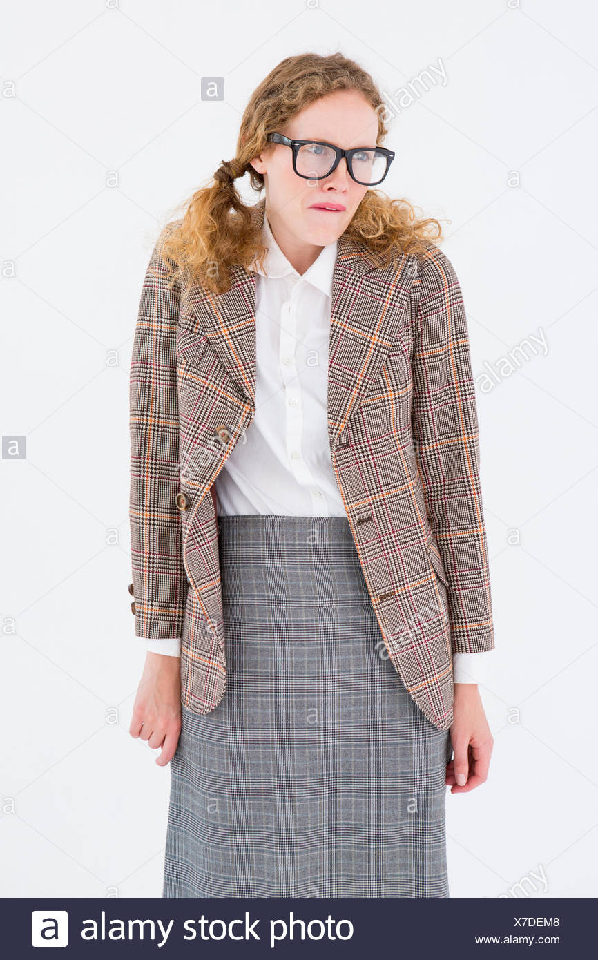 Geeky hipster woman looking nervous - Stock Image