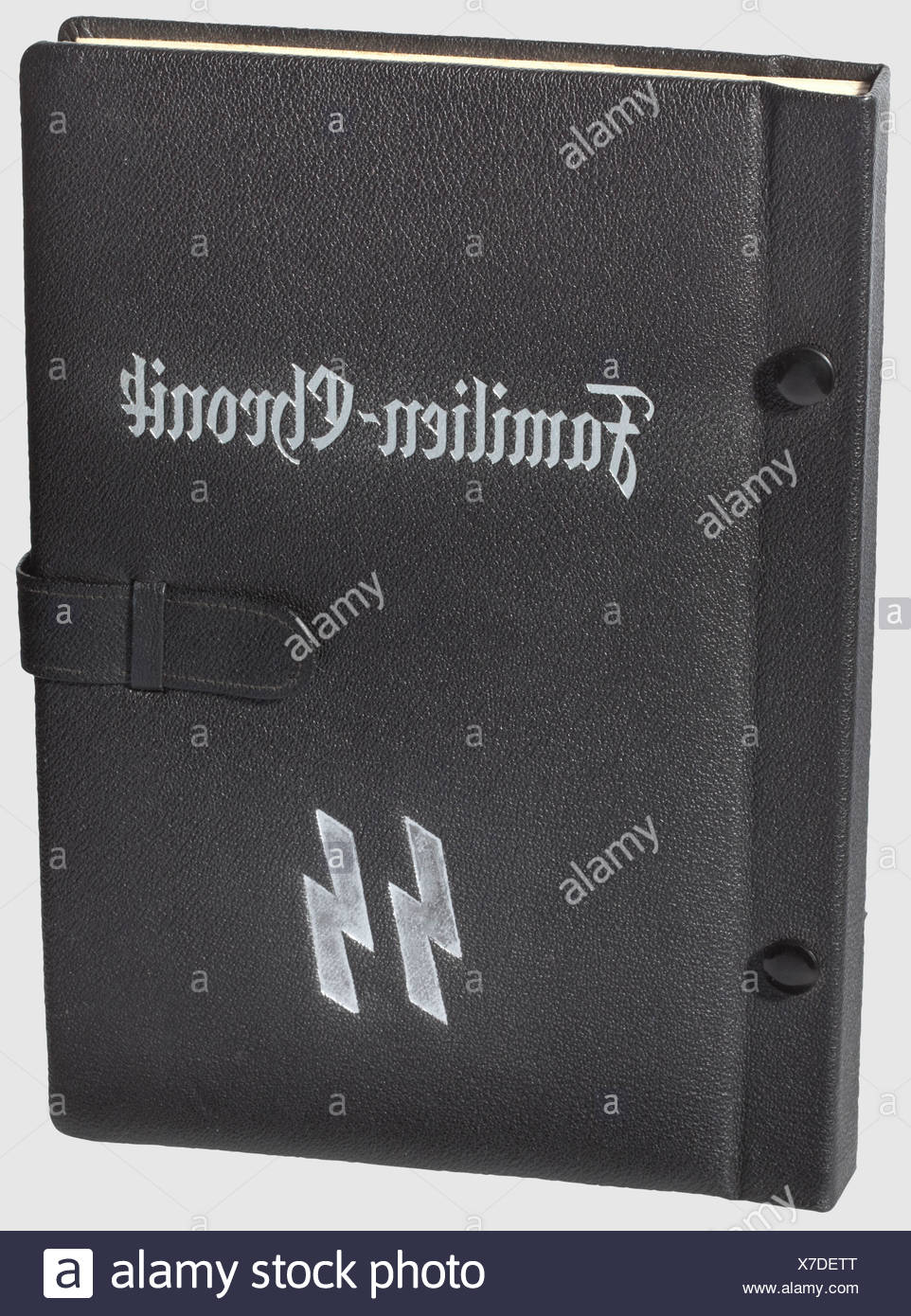 A Schutzstaffel family chronicle, an SS showcase album A well preserved blank example of an SS family chronicle with black leather cover and silver stampings. The runes have been lightly re-touched in silver, historic, historical, 1930s, 1930s, 20th century, Waffen-SS, armed division of the SS, armed service, armed services, NS, National Socialism, Nazism, Third Reich, German Reich, Germany, military, militaria, utensil, piece of equipment, utensils, object, objects, stills, clipping, clippings, cut out, cut-out, cut-outs, fascism, fascistic, National Socialist, Additional-Rights-Clearences-NA - Stock Image