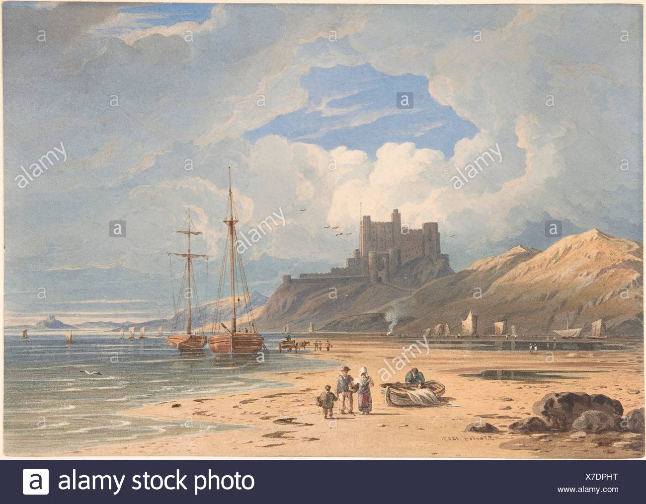 Bamborough Castle from the Northeast, with Holy Island in the Distance, Northumberland. Artist: John Varley (British, London 1778-1842 London); Date: - Stock Image