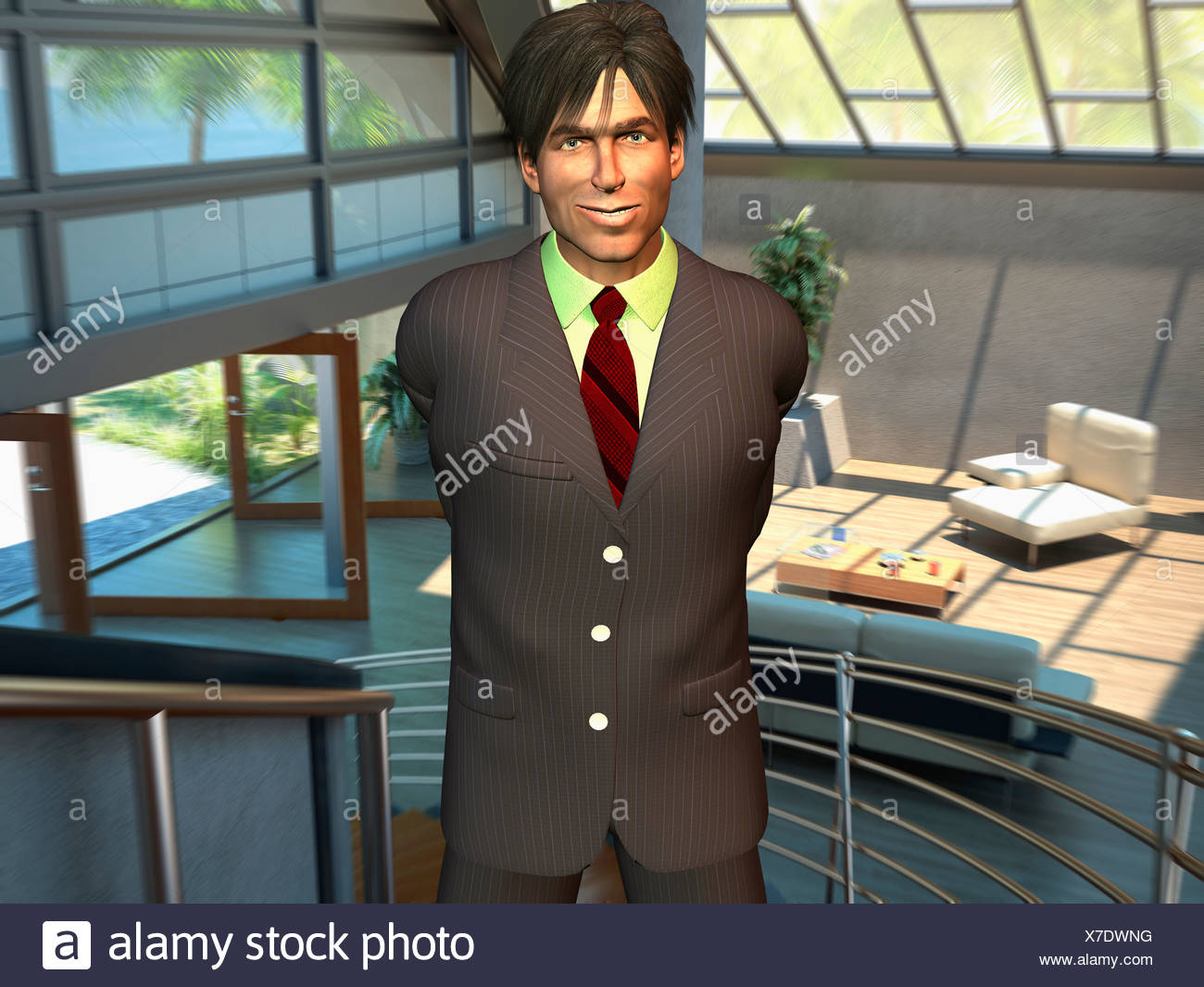 Computer Generated Image Of A Businessman Smiling Into Camera - Stock Image