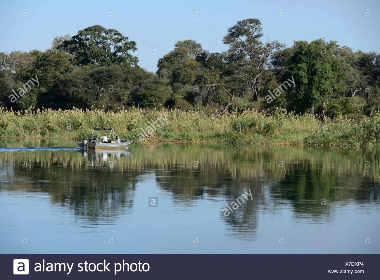 Africa, Namibia, Okavango, river, Caprivi Strip, boat, fishing, reeds, nature, Caprivi, - Stock Image