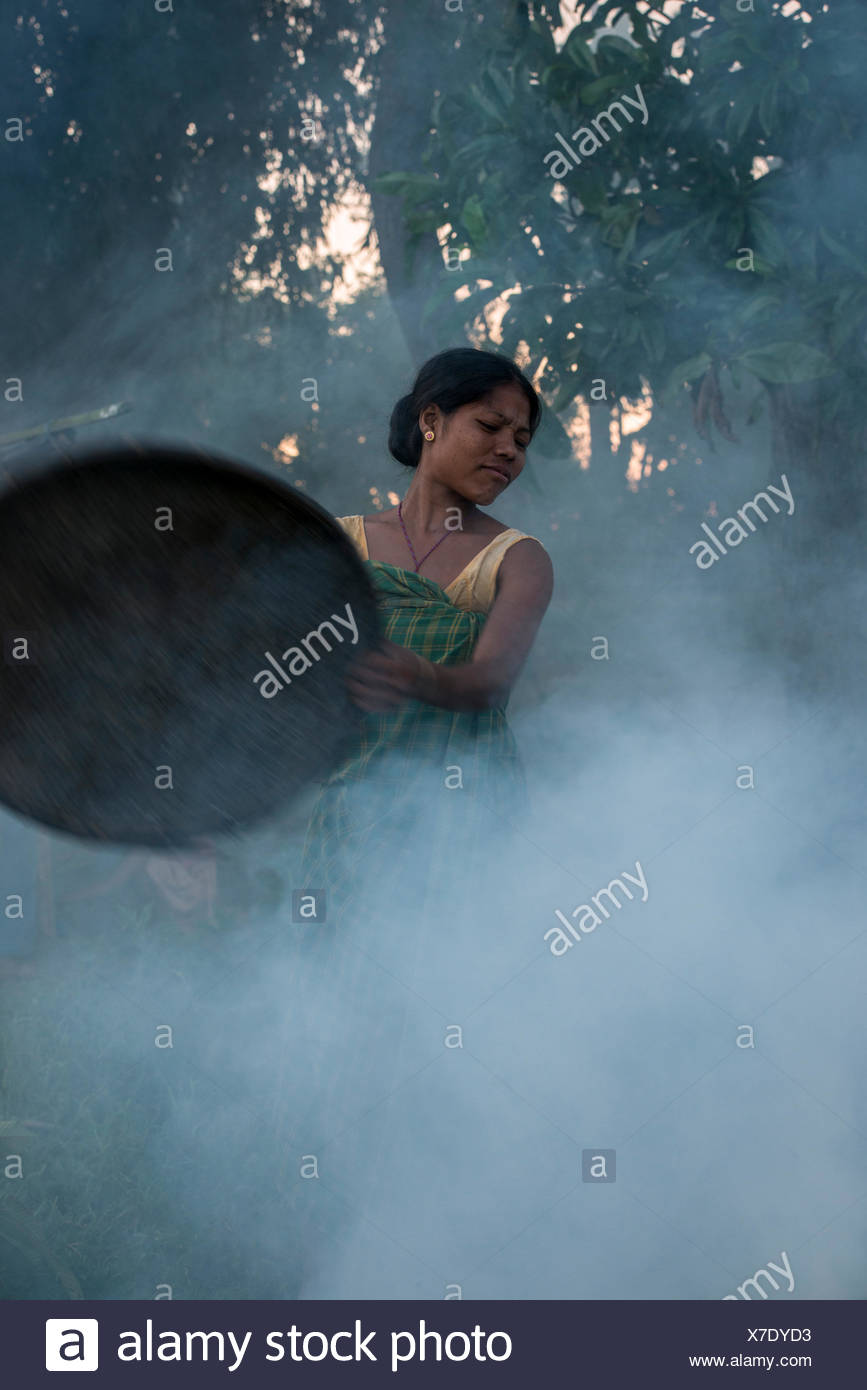 Mising tribe woman using smoke to drive away mosquitoes away from cattle, Majuli Island, Brahmaputra River, Assam,  North East I - Stock Image