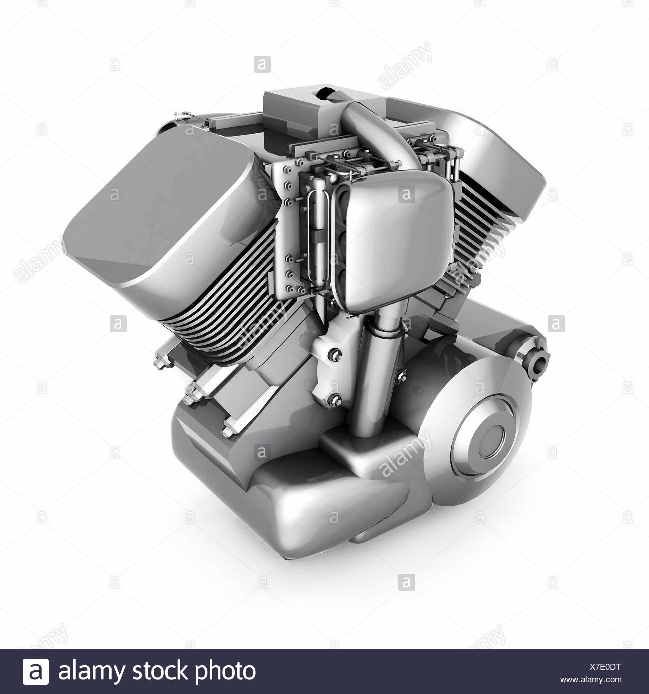 chromed motorcycle engine - Stock Image