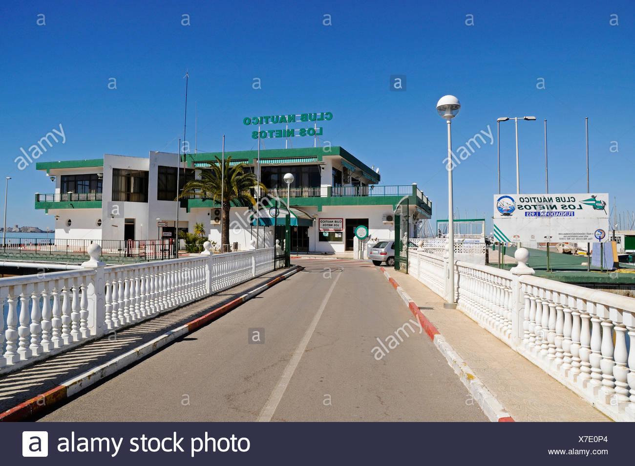 Club Nautico, marina, harbour, Los Nietos, inland sea, lagoon, Mar Menor, Murcia, Spain, Europe - Stock Image