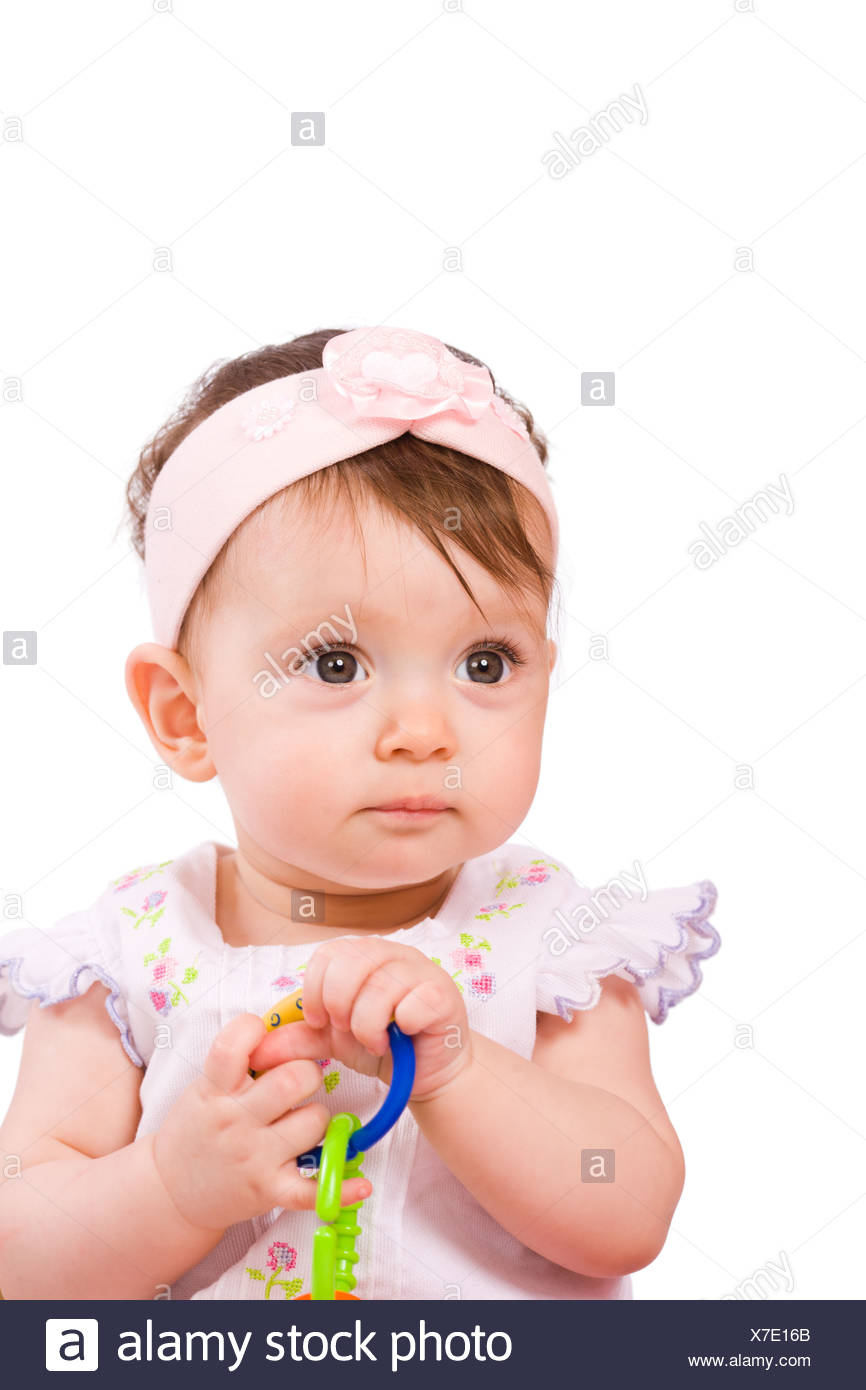 Baby girl in age eight month isolated on white Stock Photo