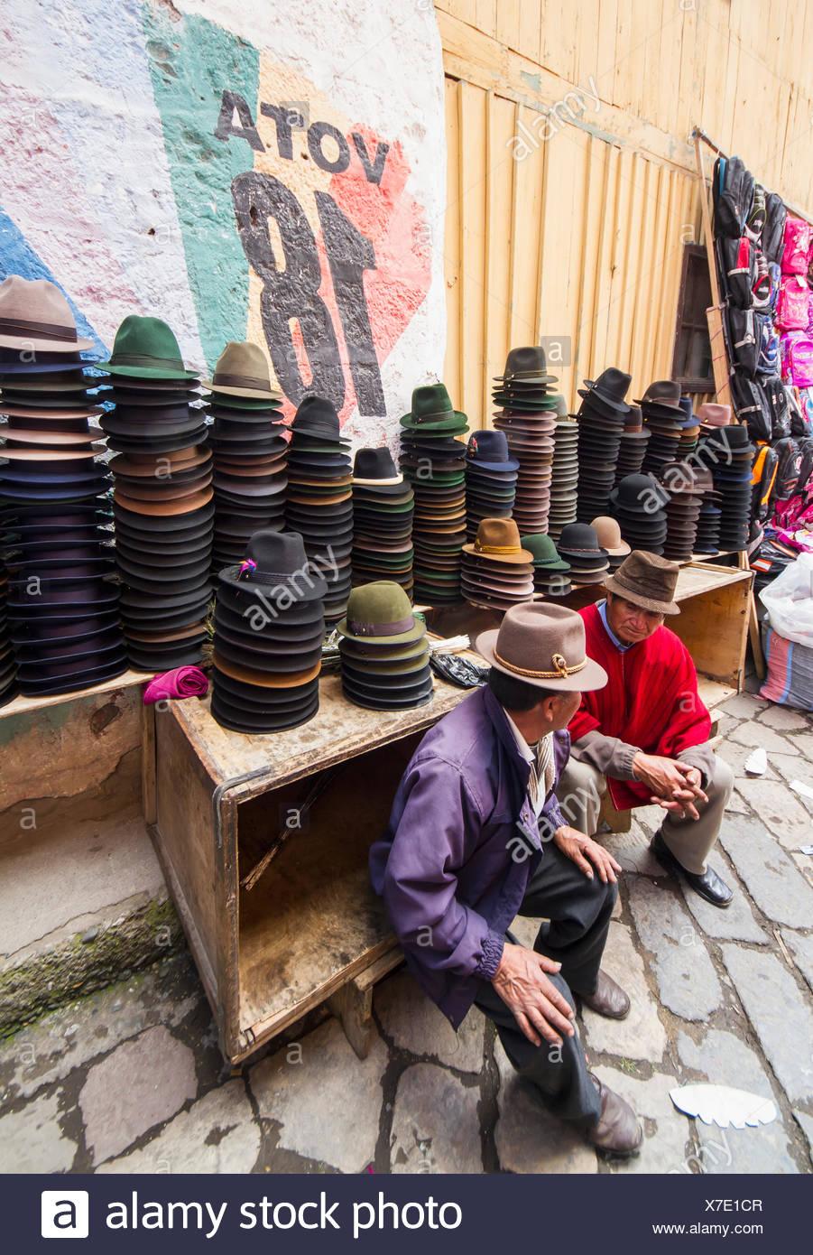 Hat vendor at the Thursday market, Guamote, Chimborazo